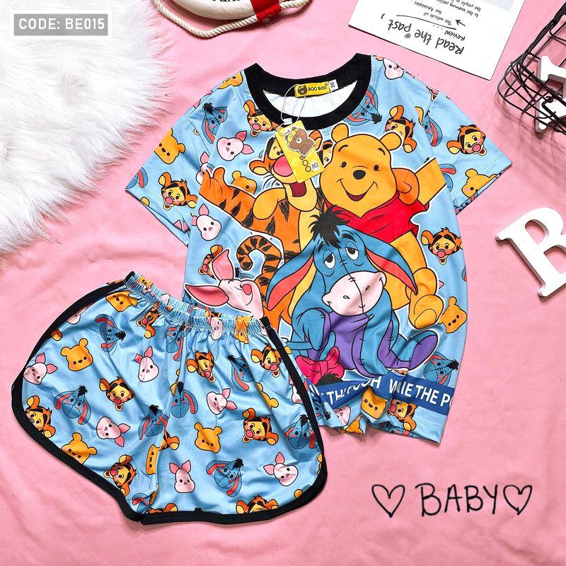 BE015 - Đồ bộ trẻ em quần đùi thun in 3D